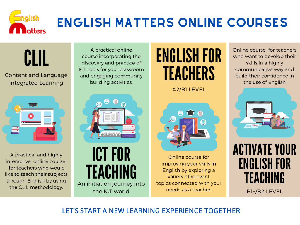 CLIL Methodology, ICT for Teaching, English for Teachers and Activate your English for Teaching